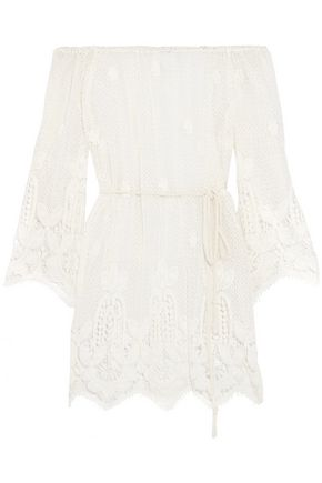 MIGUELINA Bridgette off-the-shoulder cotton guipure lace coverup