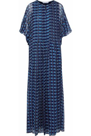 DIANE VON FURSTENBERG Pleated printed silk-gauze maxi dress