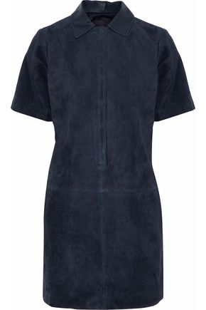 RAG & BONE Leather-trimmed suede mini dress