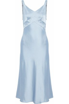 RAG & BONE Draped duchesse-satin midi slip dress