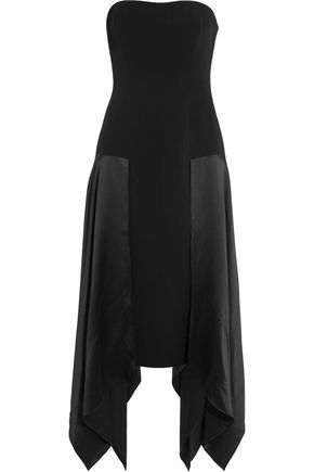 CINQ À SEPT Strapless silk-paneled crepe midi dress