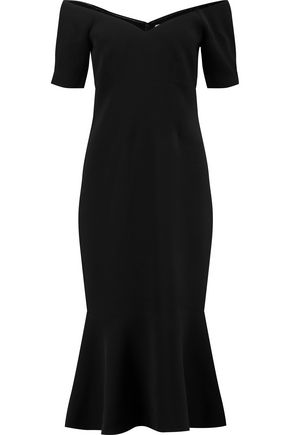 CINQ À SEPT Marta off-the-shoulder fluted crepe midi dress
