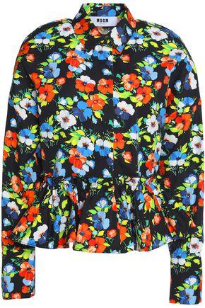 MSGM Ruffled floral-print cotton-poplin peplum shirt