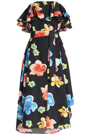 MSGM Ruffled floral-print cotton-poplin midi dress