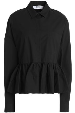 MSGM Gathered cotton-blend poplin peplum shirt