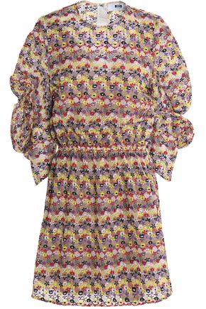 MSGM Gathered embroidered cotton-blend mini dress
