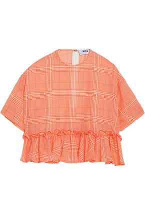 MSGM Gathered checked cotton-gauze top