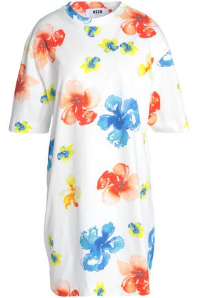MSGM Floral-print cotton-jersey mini dress