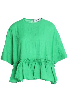 MSGM Ruffled crinkled cotton-poplin peplum top