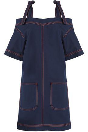 MSGM Cold-shoulder cotton-twill mini dress