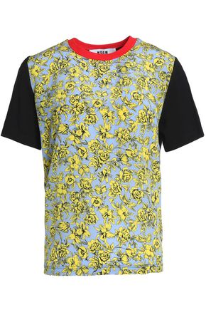 MSGM Paneled cotton-jersey and floral-print crepe de chine T-shirt