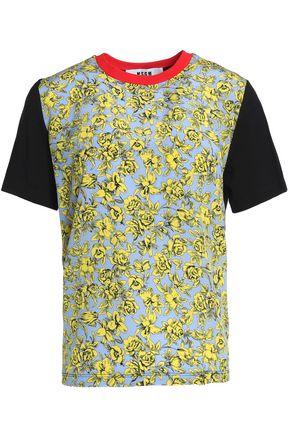 MSGM Paneled printed cotton-jersey T-shirt