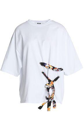 MSGM Lace-up cotton-jersey T-shirt