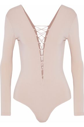 T by ALEXANDER WANG Lace-up stretch-modal bodysuit