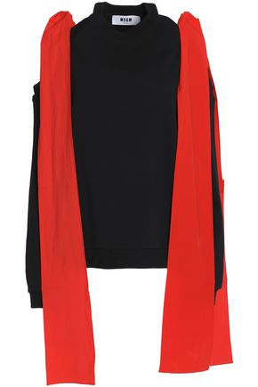 MSGM Cold-shoulder draped cotton top