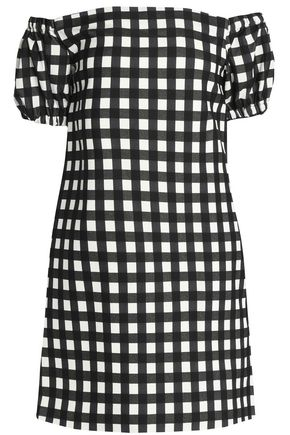 MSGM Off-the-shoulder gingham cotton-blend canvas mini dress