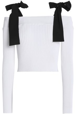MSGM Off-the-shoulder bow-embellished ribbed-knit top