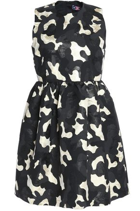 MSGM Pleated jacquard mini dress