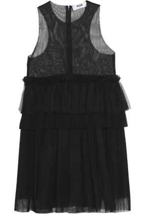 MSGM Tiered pleated tulle top
