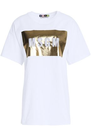 MSGM Metallic-coated cotton-jersey T-shirt
