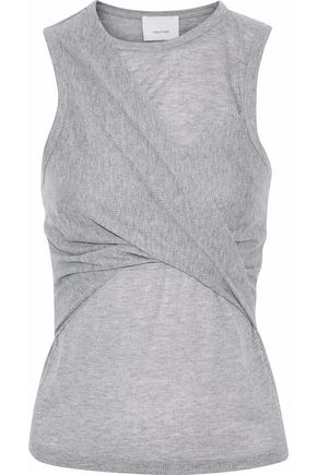 CINQ À SEPT Wrap-effect slub stretch-jersey tank