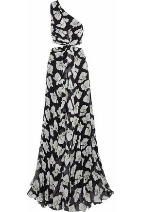 CINQ À SEPT Asymmetrical floral-print chiffon cutout maxi dress