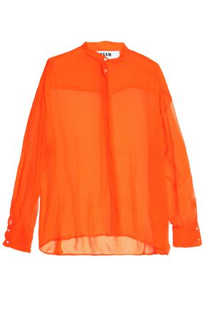 MSGM Crinkled silk-chiffon shirt