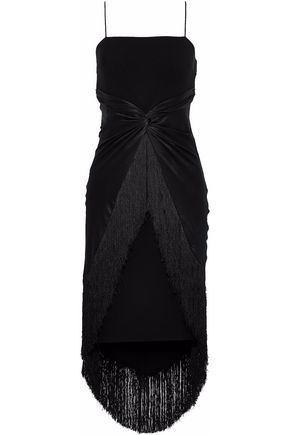 CINQ À SEPT Yolette twist-front satin-paneled fringe-trimmed crepe dress