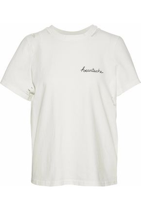 CINQ À SEPT Distressed embroidered and printed cotton T-shirt