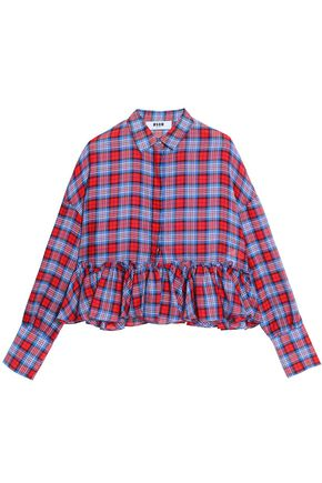 MSGM Ruffled checked cotton peplum shirt