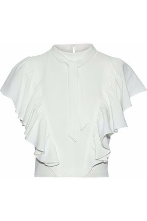 CINQ À SEPT Cropped pussy-bow ruffled crepe top