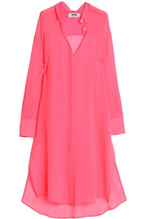 MSGM Silk-chiffon midi shirt dress