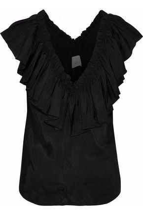 CINQ À SEPT Ruffled satin blouse