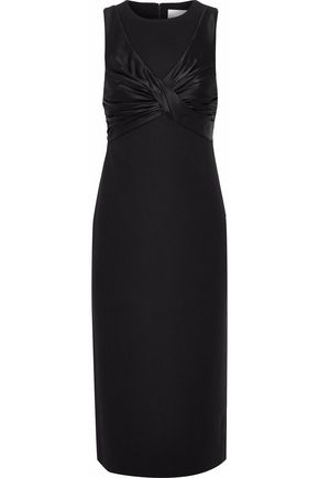 CINQ À SEPT Paneled satin and cady twist midi dress