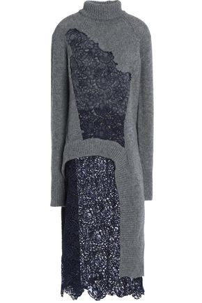 ACNE STUDIOS Embroidered lace-paneled wool sweater