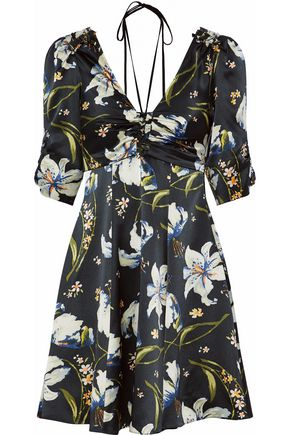 CINQ À SEPT Anders ruched floral-print silk-satin mini dress