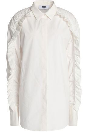 MSGM Ruffled cotton-blend poplin shirt