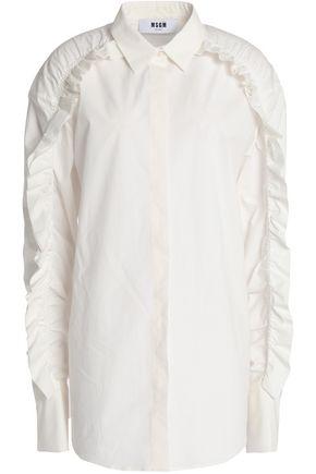 MSGM Ruffled cotton-poplin shirt