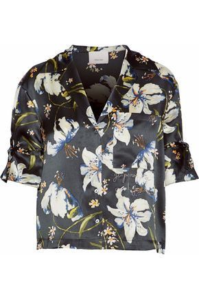 CINQ À SEPT Embroidered floral-print silk-satin blouse
