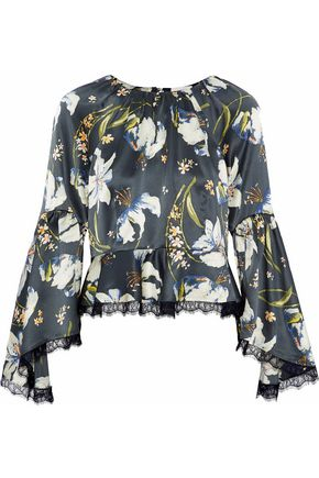 CINQ À SEPT Lace-trimmed floral-print silk-satin top