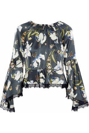 CINQ À SEPT Avalon lace-trimmed floral-print silk-satin top