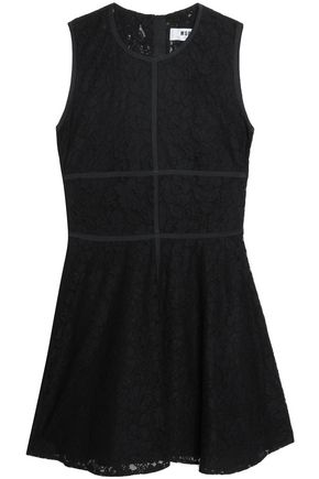 MSGM Corded lace paneled cotton-blend mini dress