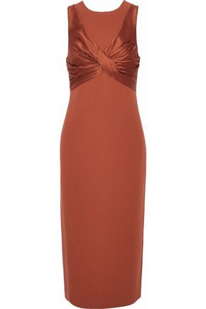 CINQ À SEPT Twist-front silk-satin paneled ponte dress
