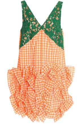 MSGM Ruffled lace and seersucker mini dress