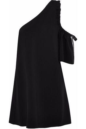 CINQ À SEPT One-shoulder bow-embellished crepe mini dress