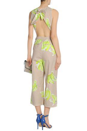 MSGM Open-back printed cotton-poplin jumpsuit