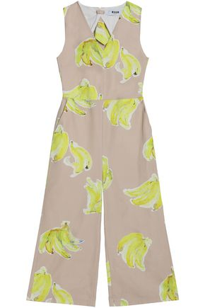 MSGM Open-back printed cotton-poplin jumpsuit