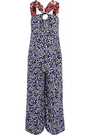 MOTHER OF PEARL Floral-print silk crepe de chine jumpsuit