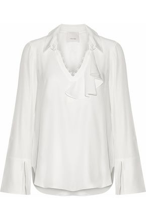 CINQ À SEPT Satin-lined ruffled silk crepe de chine blouse