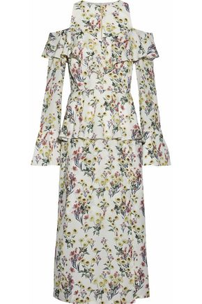 MOTHER OF PEARL Cold-shoulder ruffled floral-print silk-crepe midi dress